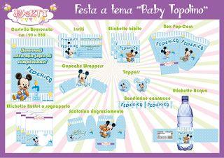 "Festa stampabile a tema ""Baby Topolino"" INFO:  partymaniadesign@hotmail.com"