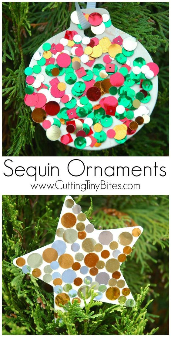 Fun for preschoolers and older children alike - these homemade sequin ornaments will take pride of place on the Christmas tree!
