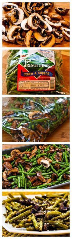 Roasted Green Beans with Mushrooms, Balsamic, and Parmesan:  #paleofy #mushrooms #balsamic