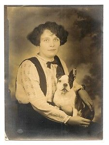 Woman with Boston Terrier (+ French Bulldog?)