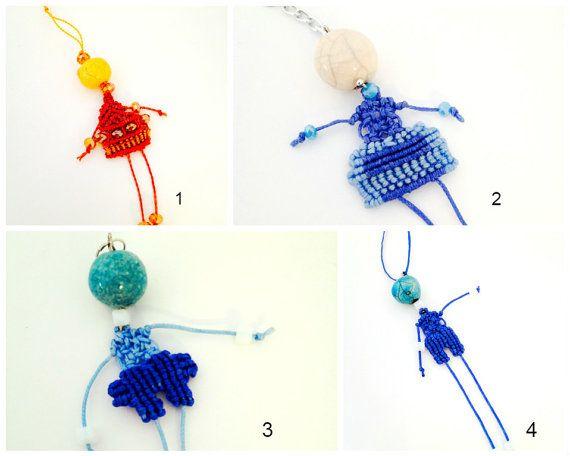 Girl boy #necklace pendand  macrame handmade, blu orange key ring, accessories funny, dolls. etsygifts   Follow me on  Wordpress blog https://morenapirri.wordpress.com/ Pint... #esjewelry #morenamacrame #dolls