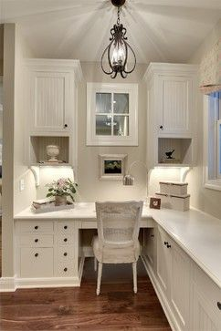 Home office nook. Organization is the key in small spaces - find storage by building up, not out.