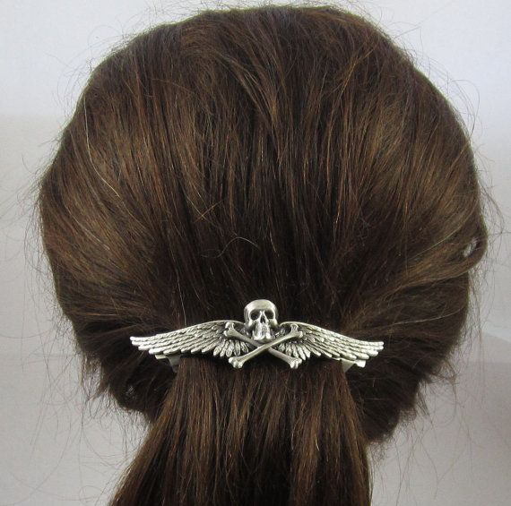 Skull and Bones French Barrette 80mm Skull by PINSwithPERSONALITY