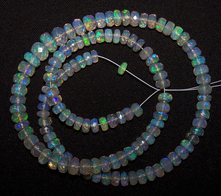 "68.80 Cts Blue-Green Fire Transparent Ethiopian Welo Opal Micro Faceted bead 16"" #ShineStarInternational"