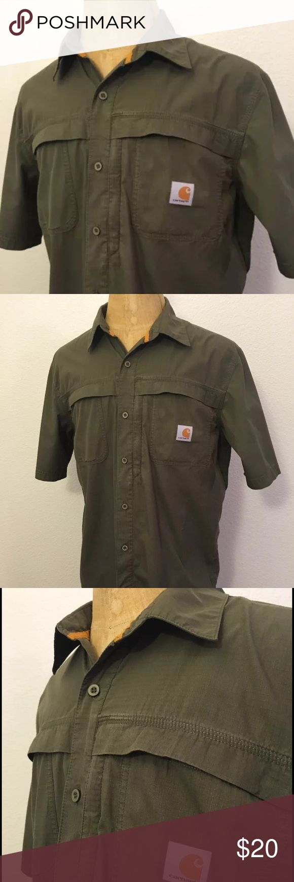 Mens carhartt size large short sleeve shirt green the oujays