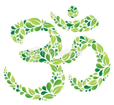 Green Floral Om Symbol Royalty Free Stock Vector Art Illustration
