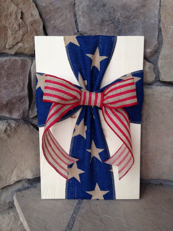 Rustic Americana Burlap Cross Wood Sign Wall by simpleandsage