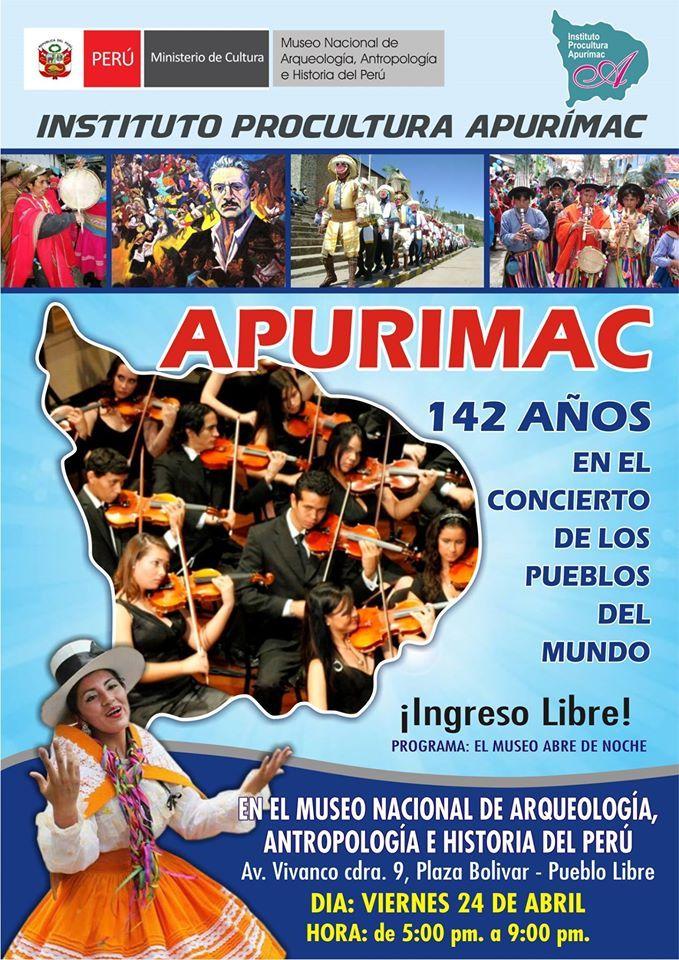 MNAAHP abre de noche para presentar música y danzas de Apurímac
