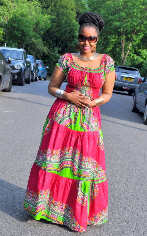 Afro Bohemian Gypsy Maxi dress in a Fuscia by HouseofAfrika