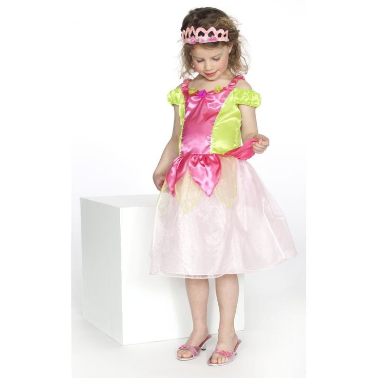 Prinses jurkje roze/groen. Dit schattige jurkje voor meisjes is gemaakt van 100% polyester.