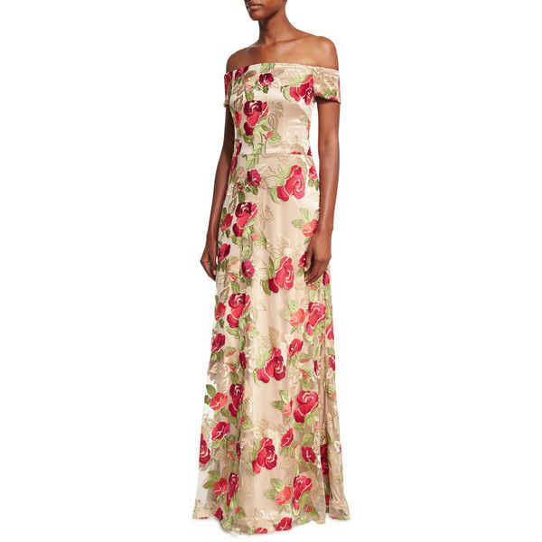 David Meister Off-the-Shoulder Floral Embroidered Evening Gown (930 CAD) ❤ liked on Polyvore featuring dresses, gowns, a line evening gowns, off shoulder evening dress, a line evening dresses, off the shoulder evening gown and off the shoulder ball gown