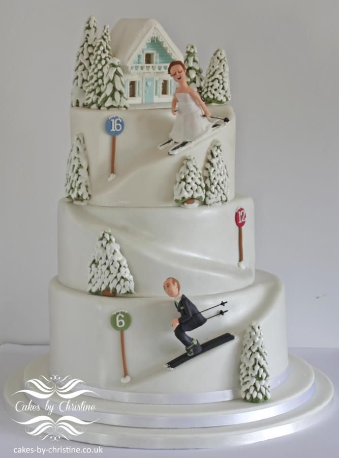 Skiing wedding cake by Cakes by Christine …See the cake: http://cakesdecor.com/cakes/188936-skiing-wedding-cake