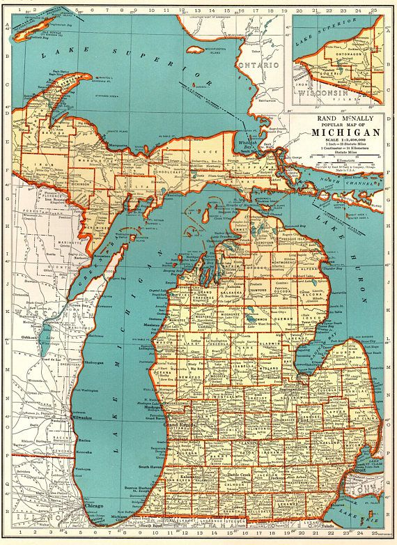 1921 Vintage MICHIGAN State Map Antique Map of Michigan Gallery Wall