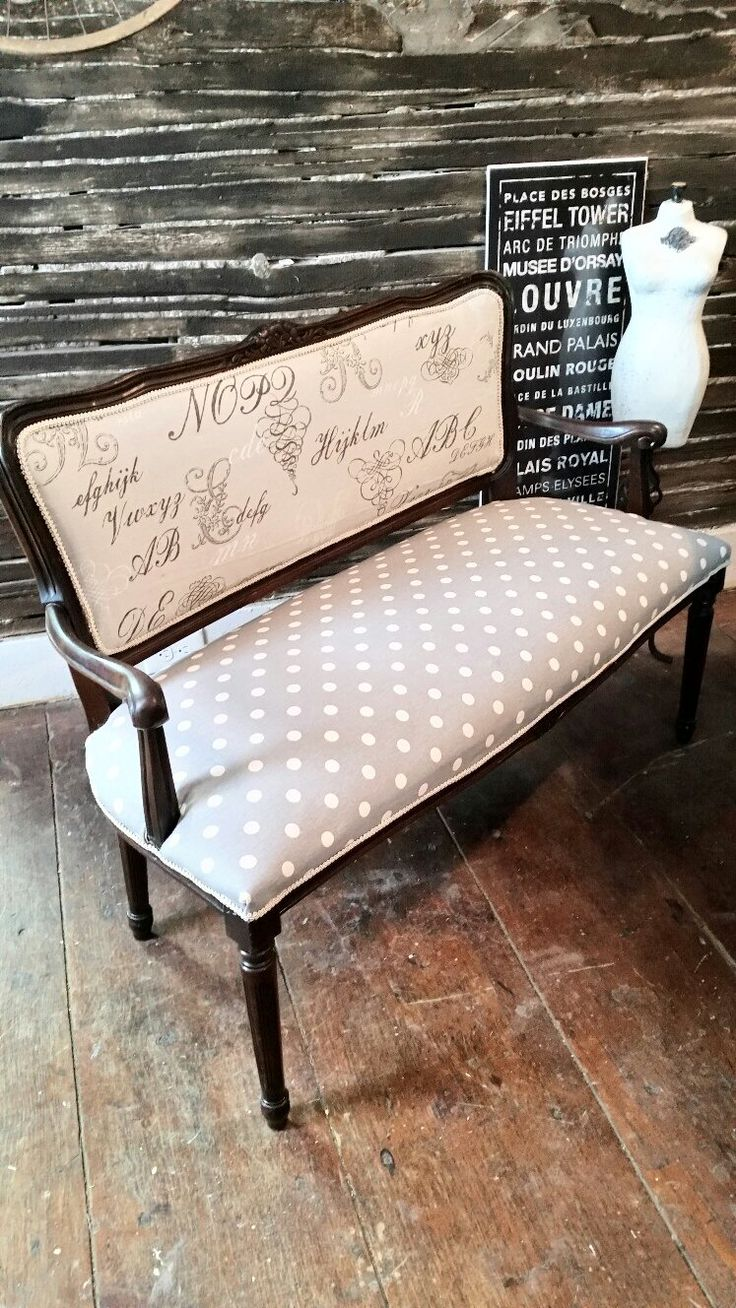 Vintage settee reupholstered in modern chic polka dot gray cream by zoey's