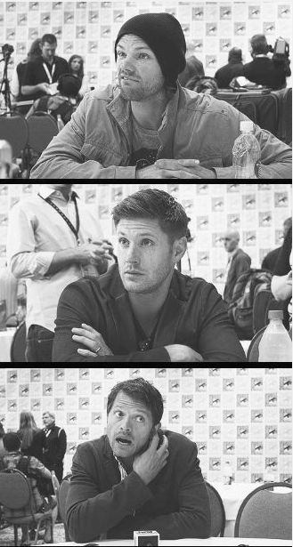 "J2 and Misha's reaction to ""So Misha, you've been writing Destiel fanfiction for quite some time now . . ."""