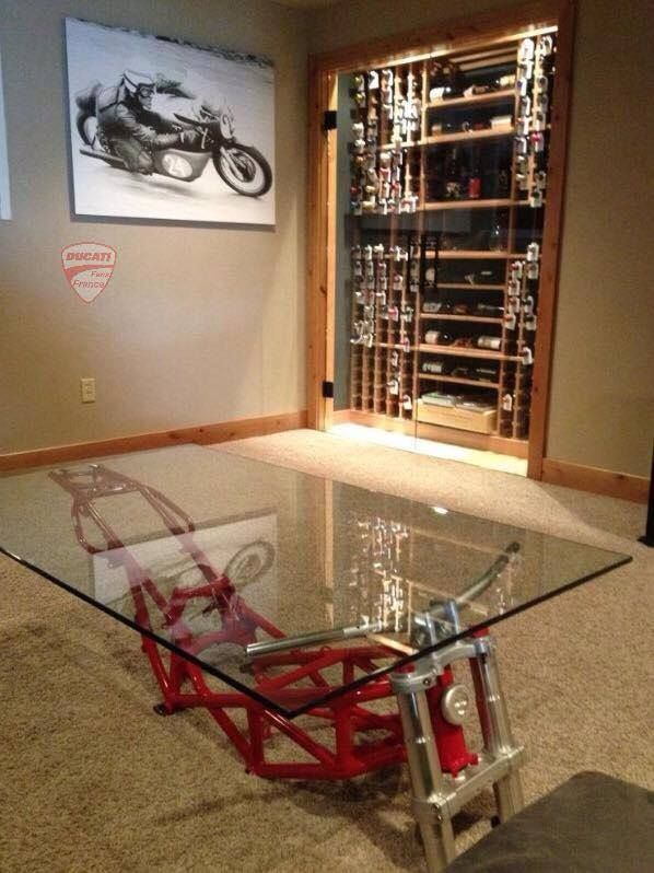 Motorcycle frame coffee table