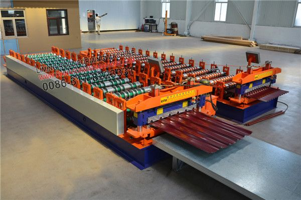 Newly strong type #roofing #sheet #roll #forming #machine, also called trapezoidal roofing sheet roll forming machine, corrugated sheet roll forming machine, very popular in Europe, South Africa, Zambia, Brazil, America, Iraq, Uruguay, chile etc.The machine can use color steel plate, galvinazed steel plate, aluminum zinc plate, thickness range is 0.3-0.6mm.