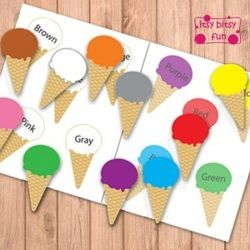 Freebie - Summer Time - Ice Cream Cone Color Matching File Folder Game - @itsybitsyfun - D