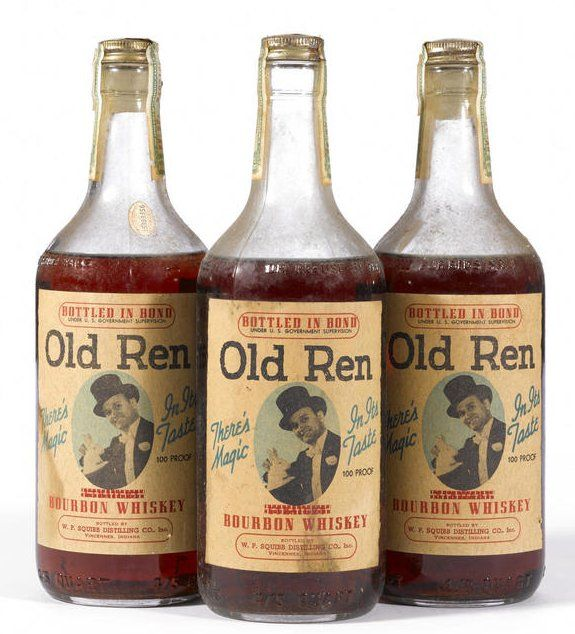 """Old Ren Bourbon Whiskey Distilled Fall 1936, bottled Spring 1944. Graham Distillery Company, Rockford, Illinois. Bottled by W.P. Squibb Distilling Co., Inc., Vincennes, Indiana. """"There's Magic In Its Taste"""" Labeling good, some wear to tax labels. Level: Low shoulder- mid shoulder. 4/5 Quart. 100 proof. (3 bottles)"""