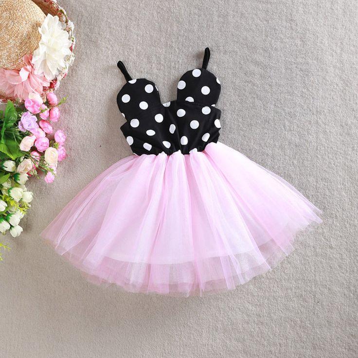 2016 New Baby Girl Princess Dress Fashion Cute Mini Dot Evening Dresses Kids Clothes Toddler Tutu Dress Children Cotton