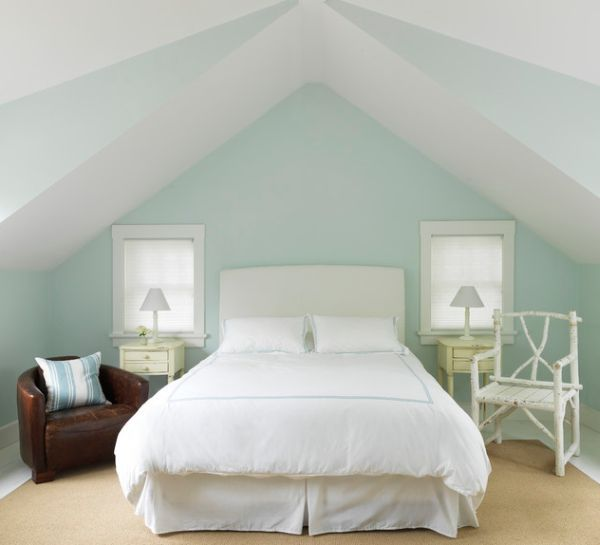 Symmetry is an absolute must for small bedrooms to appear a tad bit bigger which is reflected in this attic bedroom.