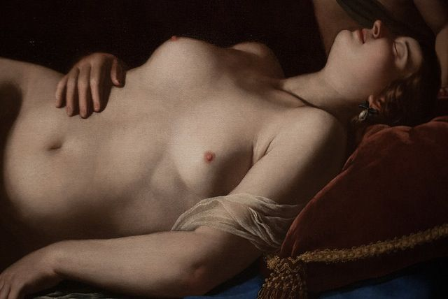 Artemisia Gentileschi - Venus and Cupid (detail), c. 1625-30 ~ the only female renaissance painter that I know of.