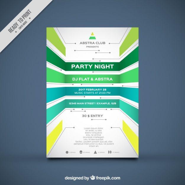 modello di brochure partito con forme geometriche Vettore gratuito