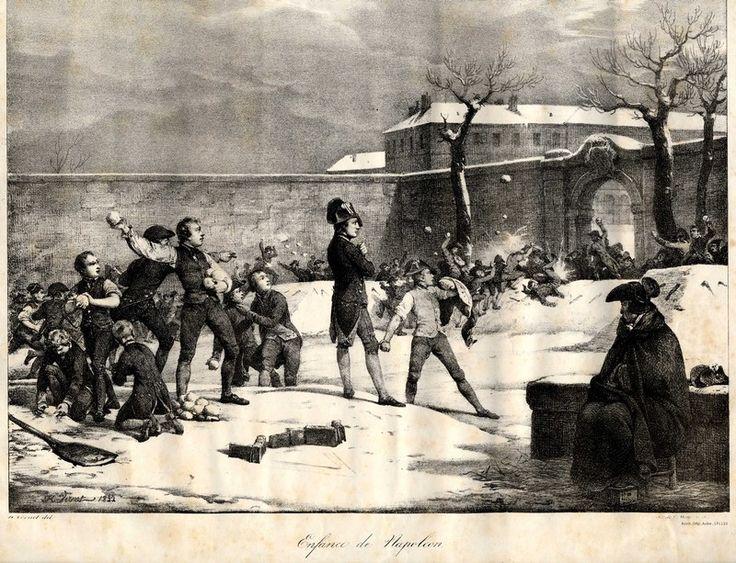 Selon la légende, au cours de l'hiver 1784, particulièrement rigoureux, Napoléon Bonaparte aurait poussé ses camarades à créer deux forteresses de neige et à participer à une bataille de boules de neige. Ses connaissances en fortifications lui auraient permis d'inventer des manœuvres et de diriger les batailles entre les élèves. Le thème est repris par quelques biographes, puis par l'imagerie d'Epinal, pour démontrer la précocité du génie tactique de Napoléon.