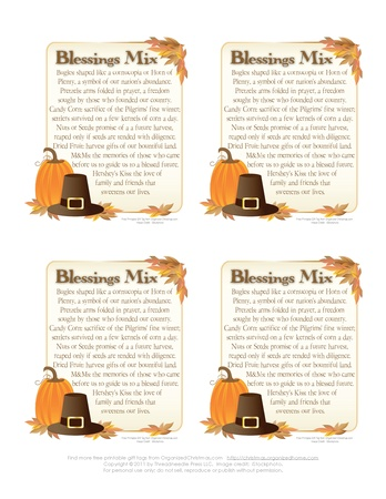 Blessings Mix - Great favor for Thanksgiving party or DIY gift for friends