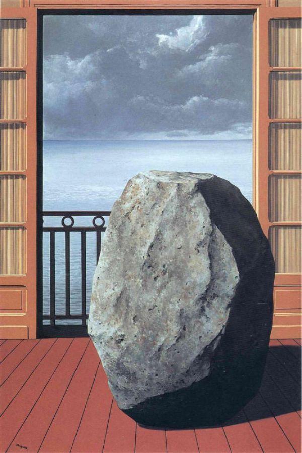 Reproduction de Magritte, Le monde invisible. Tableau peint à la main dans nos ateliers. Peinture à l'huile sur toile.