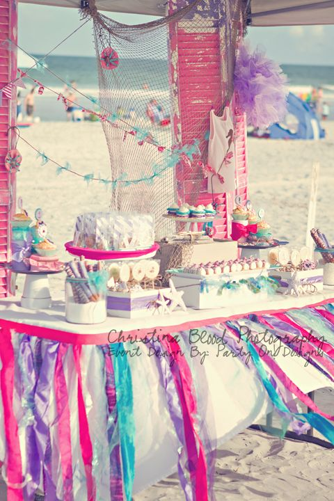 Fun!  Shabby Beach Princess - Dessert Table Party Decoration Ideas by Party On! Designs www.partyondesigns.com - assembled party supplies and printables. Pink, brown, hot pink, lavendar, purple, aqua, shabby chic, handmade, ribbon, tulle, fish, seahorse, nautical, baby shower,