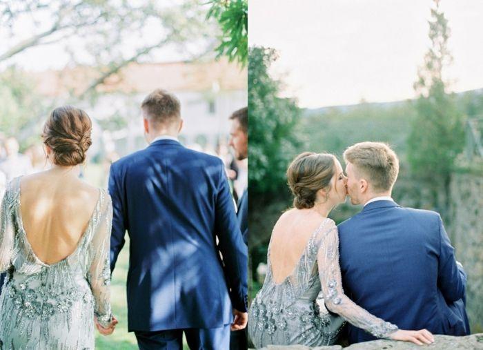 Vintage Hochzeit Mit Silber Kleid Das Brautpaar Auf Dem Weg Zum