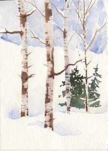 Técnicas de aquarela para a pintura Bétulas com Susie Curto