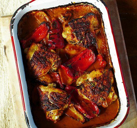 Jamie Oliver's 30-minute meals: Piri Piri chicken, rocket salad, dressed potatoes and quick Portuguese tarts