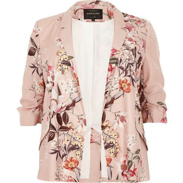 River Island Plus pink floral print ruched sleeve blazer ($71) ❤ liked on Polyvore featuring outerwear, jackets, blazers, blazer, 3/4 sleeve blazer, pink jacket, open front blazer, pink blazer and blazer jacket