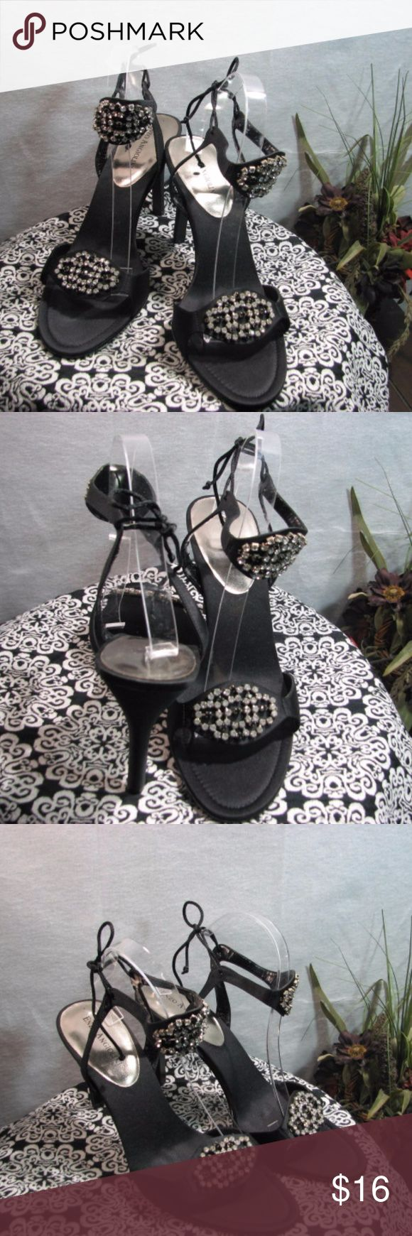 ENZO ANGIOLINI Designer Shoes/Sandals Beautiful Jeweled-Rhinestone Shoes/Sandals Black Open-Toe/Rhinestone across the bridge and ankle of the shoe Lace back closure 3-1/2 inch heels Gently used/ Some wear on the inside of both traps ***PLEASE SEE ALL PICTURES ENZO ANGIOLINI Shoes Heels
