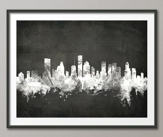 Houston Skyline Houston Texas Cityscape Art Print 1910 by artPause