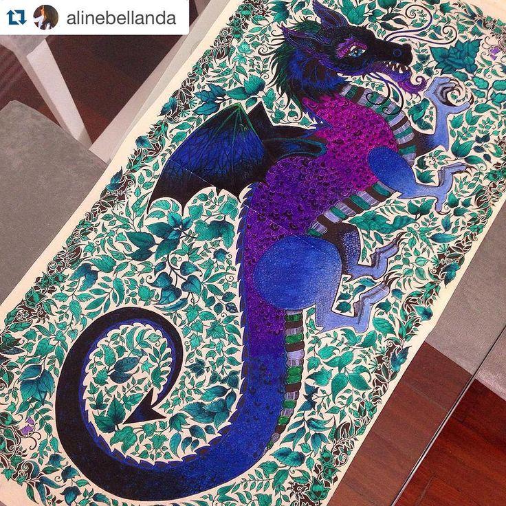 """""""Lindaa a dragão menina da @alinebellanda Essas cores ficaram ______________________________ Mais um #jardimsecreto #florestaencantada…"""""""