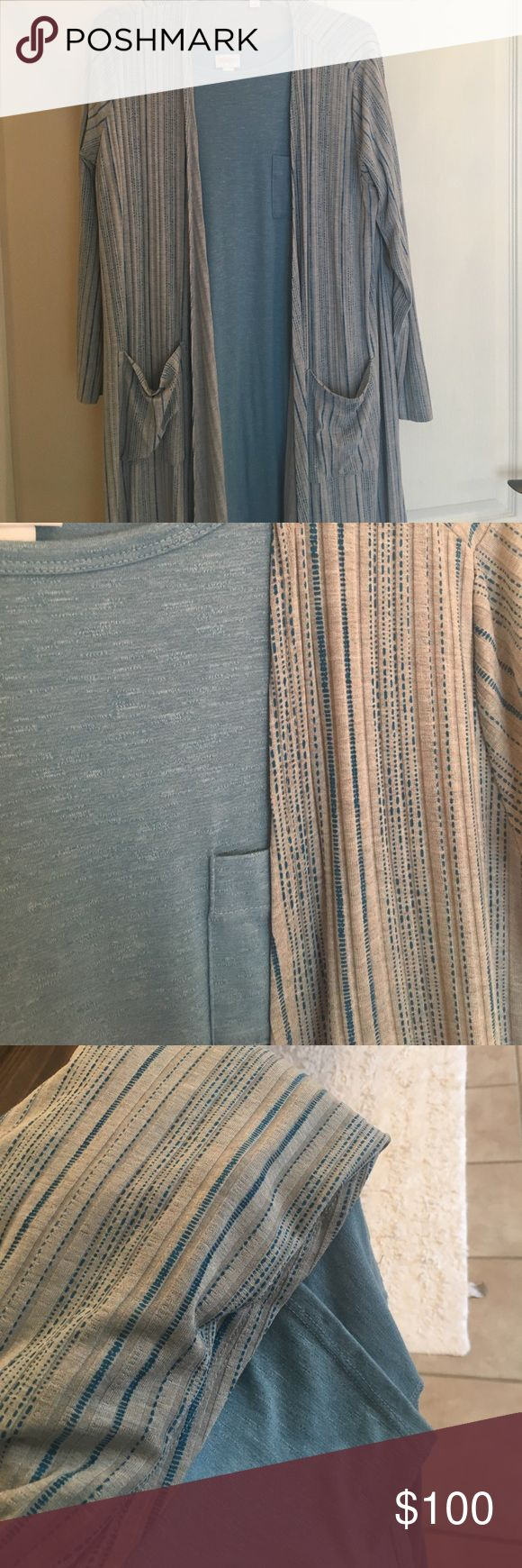 EUC Carly and Sarah EUC Small Carly with Medium Sarah. Gray and blue. No flaws, smoke free home. No trades. LuLaRoe Dresses