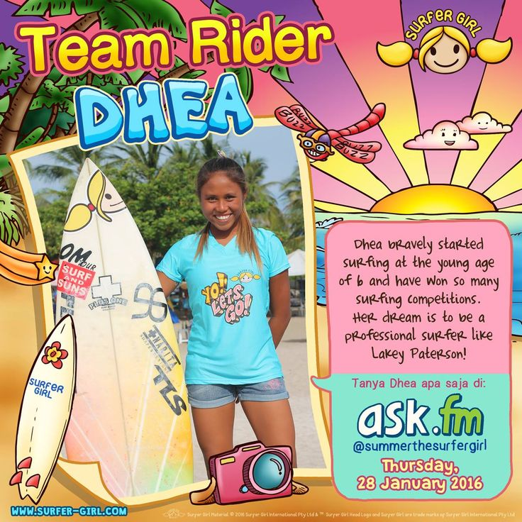 Hi Girls ^^ I would like to introduce you to one of Team Riders members :) Her name is Dhea and she's soooo talented! ^^ Ask her anything on ask.fm/summerthesurfergirl :) Love, Summer <3 #surfergirl #positivedifference #surfing