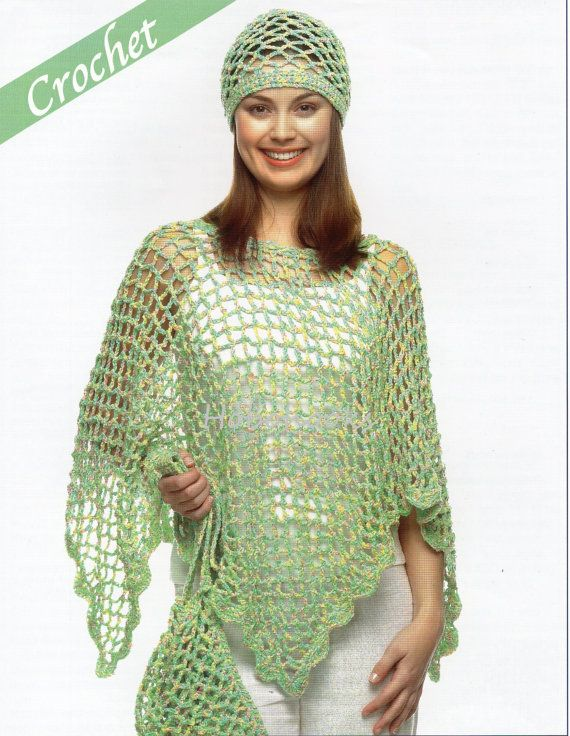 CROCHET ladies poncho hat and bag  small medium and por Hobohooks