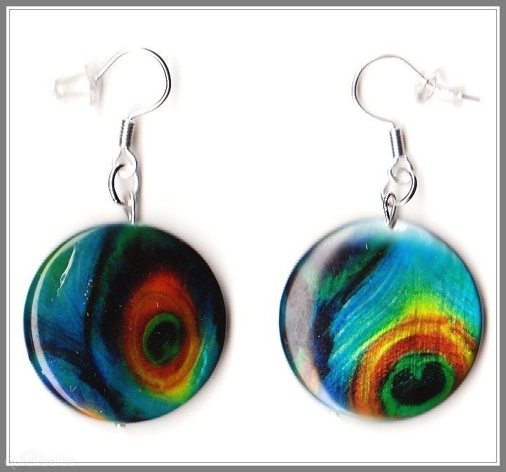 Peacock Feather MOP Shell Coin Bead Earrings  by MadAboutIncense - $10.50