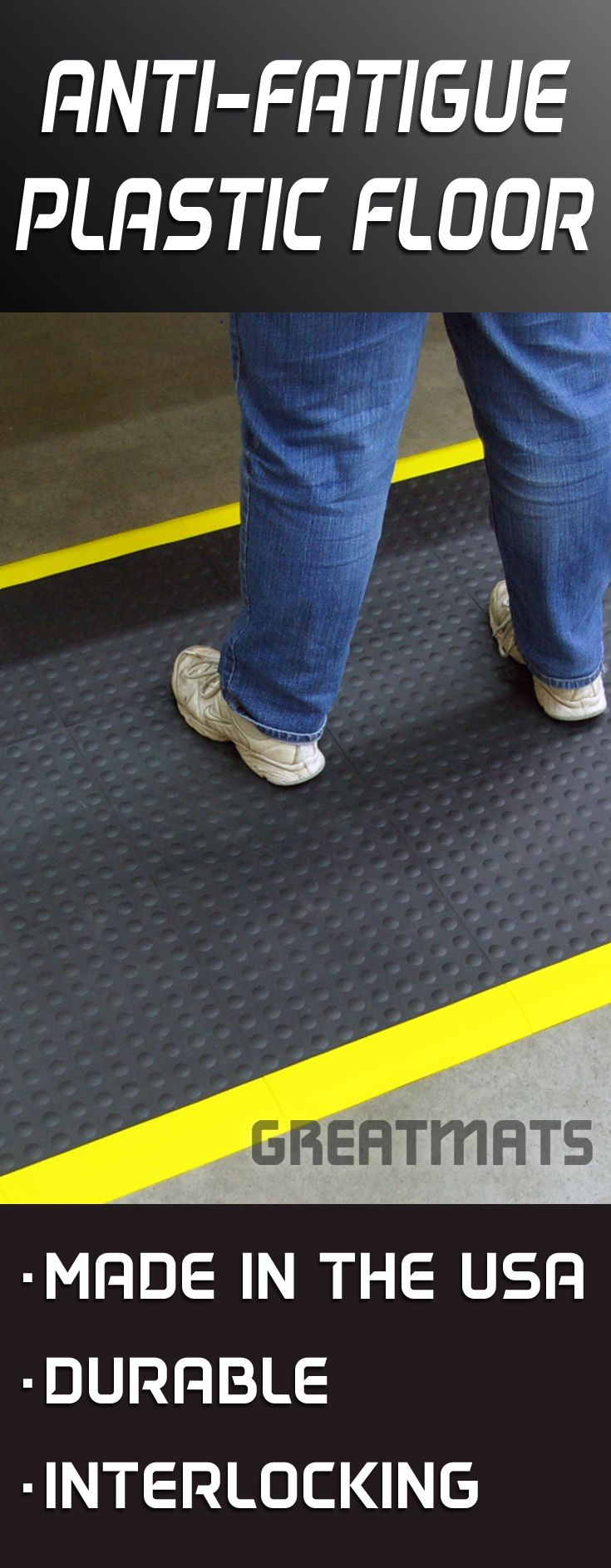 22 best plastic flooring images on pinterest basement flooring looking for a plastic floor with ant fatigue benefits try staylock bump top tiles dailygadgetfo Choice Image