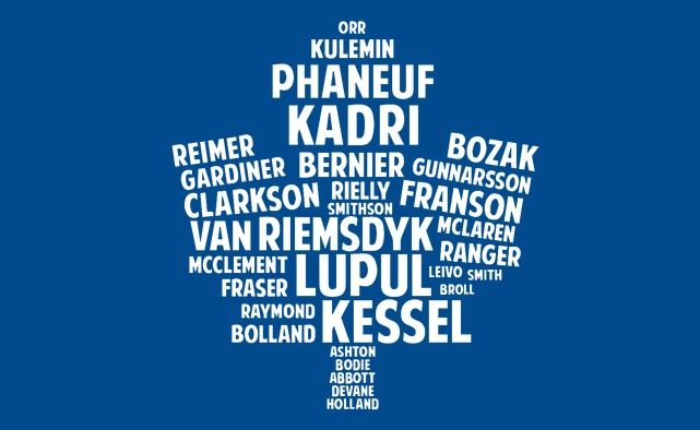 MLHS design with all the names of the 2013-2014 Toronto Maple Leafs