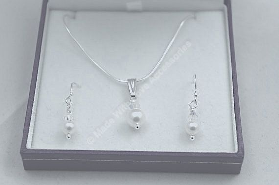Pearl and Crystal Necklace and Earring Set £29.99