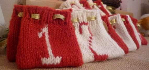 Hand made knitted advent calendar for 24 days by KatarinasChouse