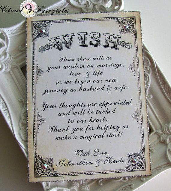 Wish Tree Sign Wedding Wishing Instruction Card For Tags Vintage Style