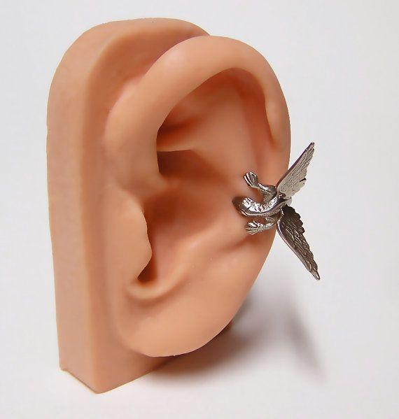 Steampunk Dragon Ear Cuff, dragon body wrap around ear (sw) on Etsy, $55.99