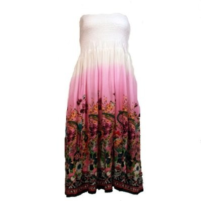 Ladies Strapless Bandeau Maxi Summer Dress with Floral Design - Pink £14.95