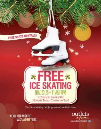 Free Ice Skating  at Outlets at Anthem Phoenix, AZ #Kids #Events
